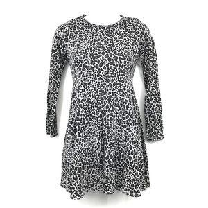 Harper Canyon Swing Dress M Cheetah Print Long Sleeve Crew Neck Girls Gray NWT